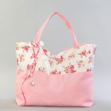 Christening cotton bag with flowers  / Βαμβακερή τσάντα βάπτισης με λουλουδάκια